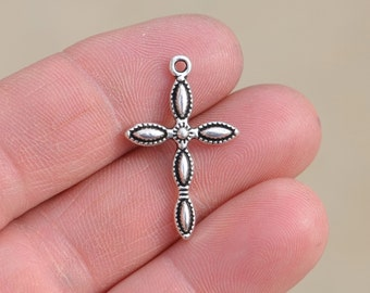 10 Silver Cross Charms SC5039