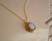 Opal Locket Necklace Fire Opal Necklace Wife Vintage Opal Necklace Brass Locket Fire Opal Gold Chain Opal Jewelry