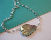 Abalone Necklace Paua Shell Necklace Pendant Peacock Blue Silver Necklace Jewelry