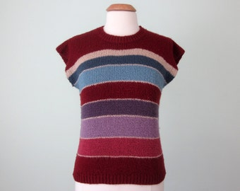 80s sweater/ knit striped maroon top short sleeve cotton (s - m)
