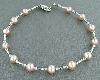 Small to X-Large Anklet in Pink Pearls and Silver - Pink Pearl Anklet with Sterling Silver Spacers - Pink Pearl Ankle Bracelet, 9-14 inches
