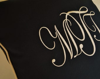 MONOGRAM PILLOW CUSTOM - Black Outdoor Indoor Fabric with Tan Color Embroidery and Welt - Living Room - Bedroom - Patio