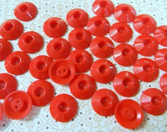 Vintage Red Buttons - Plastic House Dress Buttons 1950s - Vintage New Unused Matching  Set of 25 Buttons