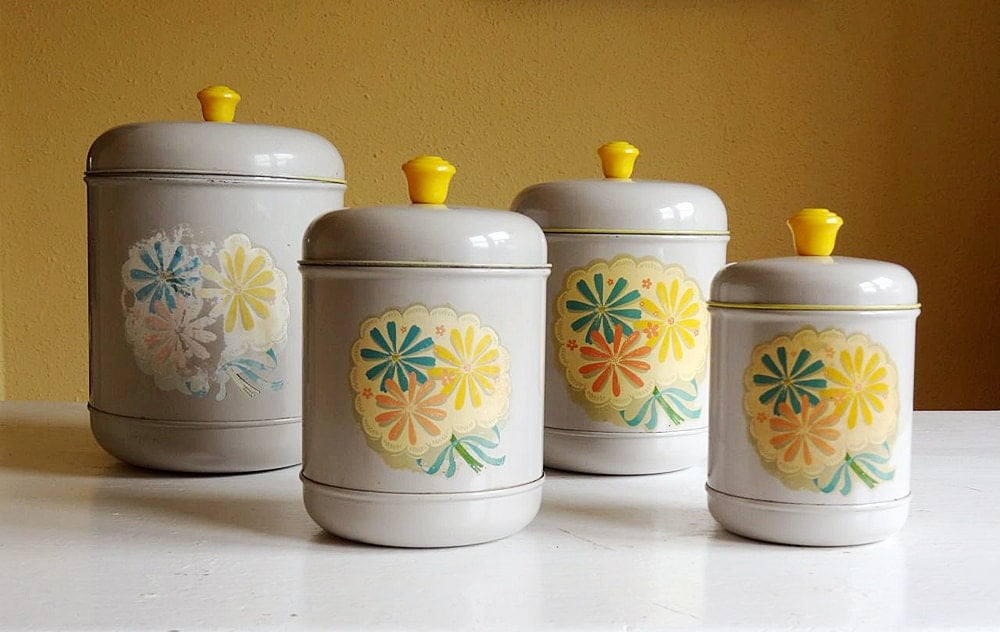 Reserved for l vintage canister set 4 kitchen storage for Kitchen set letter l