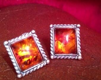 Baltic amber earrings set in sterling silver