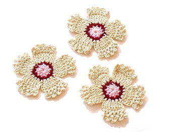 Crochet Flowers Old Fashioned Pinks Appliques Embellishments