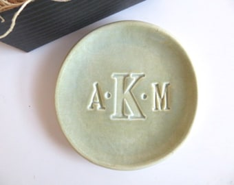 ring holder, wedding ring dish,  CUSTOM monogram gift, Large jewelry dish, Moss Mint Green Glaze