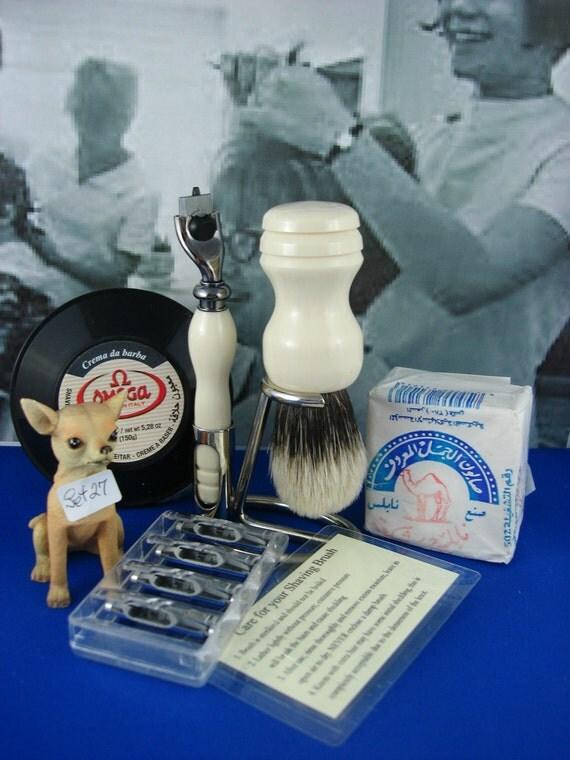 Wet Shaving, Mach 3, Black Titanium Razor, Men or Women, Silvertip Badger Brush, Chrome Stand, Alternative Ivory, Personal Engraving, Set 27