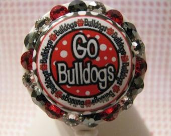 Georgia Bulldogs ID Badge Holder, Retractable ID Badge Reel, Name Badge Holder, ID Card Holder, Nurse Badge Reel, using Swarovski Elements