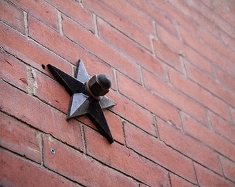 Rustic Architecture Photography, Boston, Holiday Decor Star Photograph, Urban City Brick Building, Metal Star, Star Art, Abstract Phtography