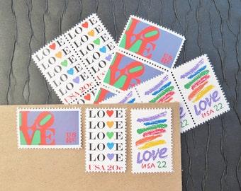 LOVE .. Rainbow .. Vintage UNused Postage Stamps .. to post 5 letters
