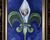 Fleur de Lily - fleur de lis - fine art canvas painting New Orleans calla lily Framed