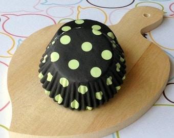Black & Lime Polka Dot Standard Cupcake Liners