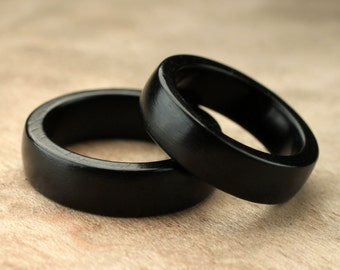 Custom Matching Ebony Wood Rings - 6mm