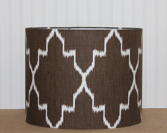 Drum Lamp Shade Lampshades Monaco Coffee Bean Ikat