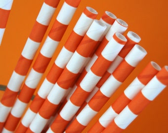 Orange Rugby Striped Paper Straws and PDF Printable Party Flags