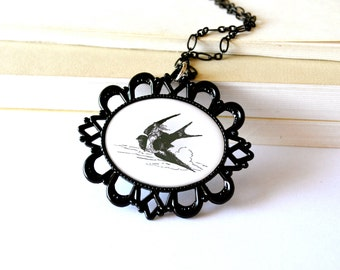 Black and white, back to school necklace. Fairytale, bird print jewelry. Illustration, long. Thumbelina.