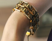 Reserved for D - Heavy Damascene Bracelet, Double Tank Tread, Hinged, Bicycle Chain Design, Gorgeous & Rich, Excellent Condition