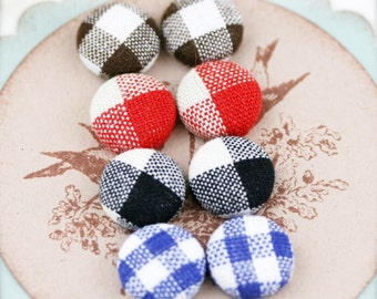 """Checkered squares - fabric covered button ear studs, set of 4 -  1/2"""", 12mm (BS)"""