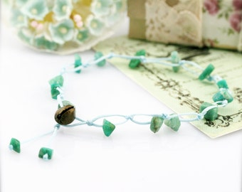 Arizona mist macrame anklet - amazonite