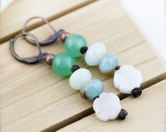 Feminine oriental earrings - Chinese jade and amazonite