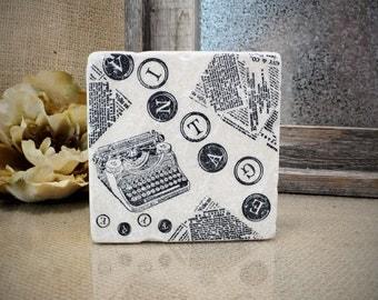 VintageTypewriter Absorbent Stone Tile Drink Coaster