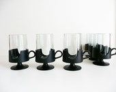 Mid Century Modern Mugs, Vintage Glassware, Corning USA Glas-Snap Hot Cold Mugs, Coffee Mugs, Barware, Mod Kitchen Decor, Drinking Glass Set