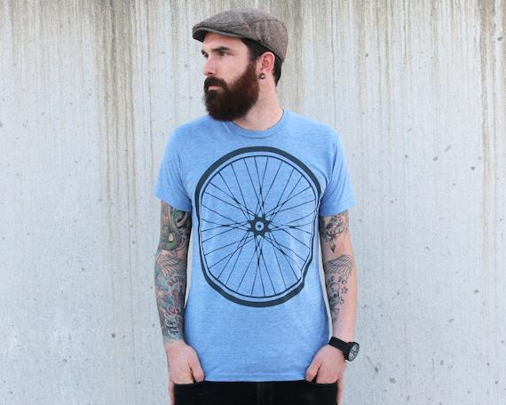 American Apparel Unisex BIKE WHEEL double sided T-Shirt - Tri Blend Athletic Blue - Sizes xs S M L xl custom color shirt