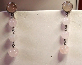 "Long ART DECO  Pink Quartz Earrings Long 2"" Genuine Antique in Excellent Condition a Must Have Victorian on SaLe Now"