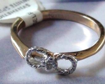 Vintage Eternity Karatclad 18k hge over Sterling Diamond chip 2mm a Promise Ring Size 7 Unused