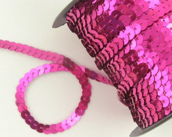 One (1) Yard of Hot Fuchsia Pink Sequins Trim Spool Edging