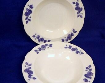 "1900 -1909  ""Cambridge"" Pattern   2 Soup Bowls     Geo. Jones England Blue and White"