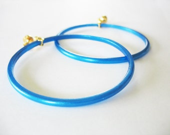 Large Hoop Earrings Glass Hand Painted Blue Gold
