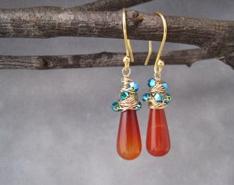 Amber and Peacock Blue  Whirlwind Drop Earrings - Wire Wrapped Gold - Jewelry - Fall Trends - Amber Earrings