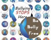 Stop Bullying Awareness for bottle caps, pendant, buttons, scrapbook and more Vintage Digital Collage Sheet No.1336