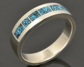 Kingman Spider Web Turquoise Ring or Wedding Ring in Sterling Silver by Hileman Silver Jewelry