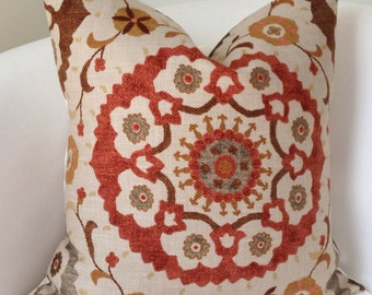 Suzani Pillow, Fall Pillow Cover,  Brown Orange Pillow, Throw Pillow, Cushion, Accent Pillow