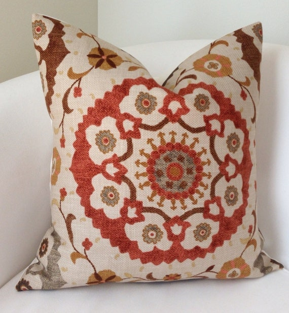 Suzani Decorative Throw Pillow Cover Fall Colors by nestables
