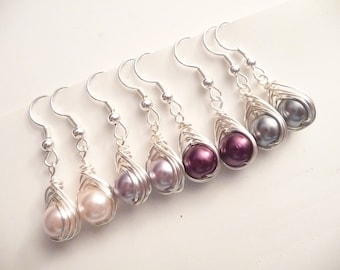 Assorted Silver Wire Wrapped 8mm Glass Pearl Earrings