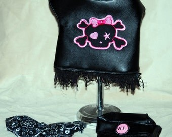 Bad to the Bone Cute little Biker outfit 3 piece harness vest