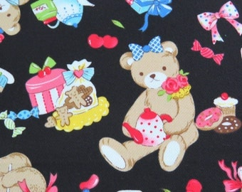 2383D -- Lovely Bear and Tea Time, Bears Party, Cupcake, Macaron, Toy, Cotton Twill Fabric, Black Color