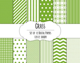 Green Grass Digital Scrapbook Paper 12x12 Pack - Set of 12 - Polka Dots, Chevron, Gingham - Instant Download - Item# 8018