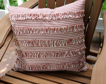 Free Shipping - Ruffled Stripe Ticking Pillow Cover - Select Your Color