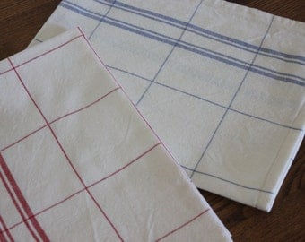 Cotton Tea Towel in Red or Blue Plaid - 2 Lengths Available