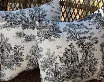 "Decorative Pillows - Black Toile Cotton Pillow Covers - 18"""