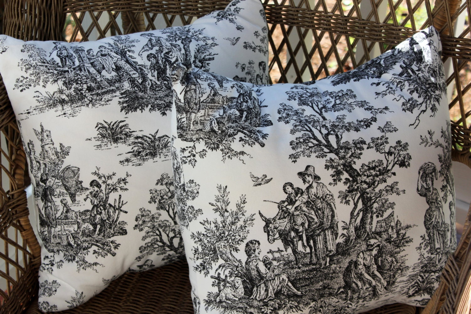 Decorative pillows black toile cotton pillow covers - Toile decorative murale ...