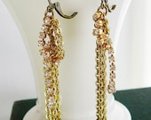 Earrings, Vintage Brass Chain and Rhinestone Dangle Earrings, Clear Crystal