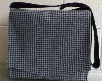Navy on Blue Houndstooth Wool Messenger Bag