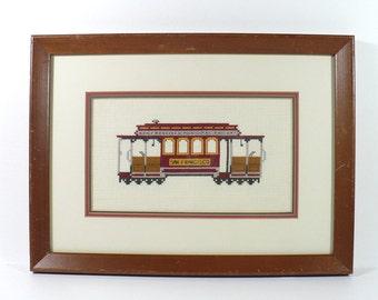 San Francisco, Framed needlework, Trolley car, cross stitch, hand stitched artwork