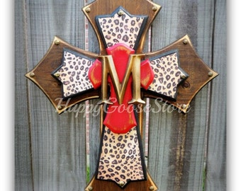 Wall Cross - Wood Cross - Medium - Stain, Leopard, antiqued red with initial